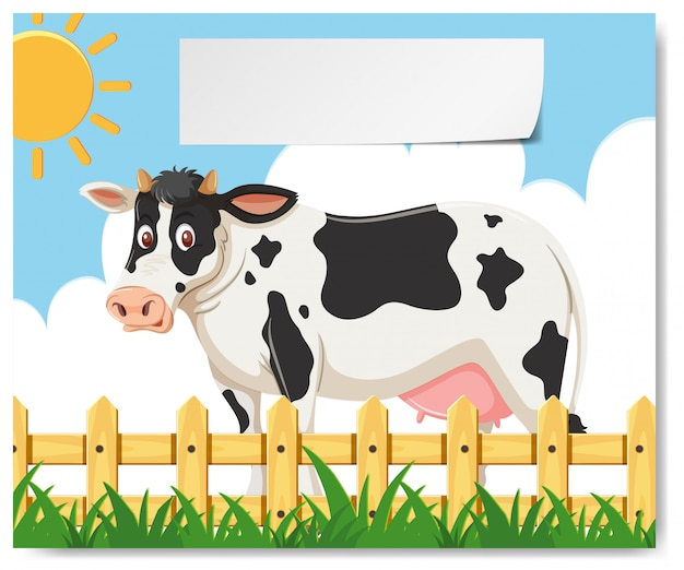 Une vache dans le modèle de la ferme