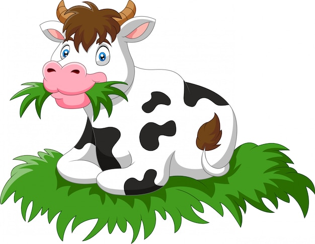 Vache dessin animé, s'asseoir, manger, herbe