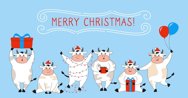 Vache de dessin animé de symbole de nouvel an