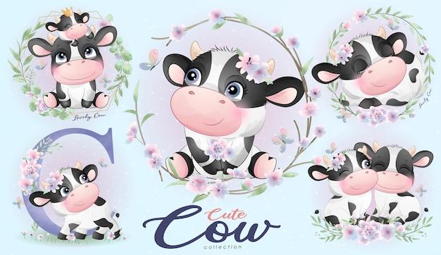 Vache doodle mignon avec ensemble floral avec illustration aquarelle
