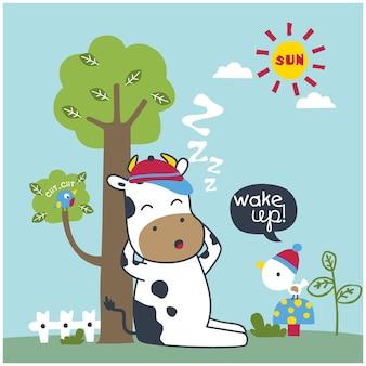 La vache dort sous l'arbre dessin animé drôle d'animal