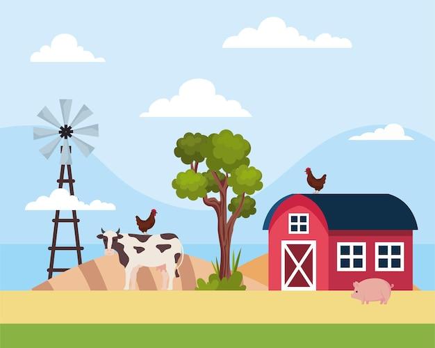 Vache et grange