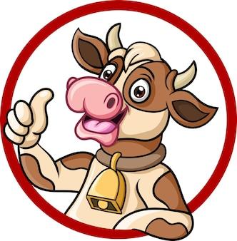 Vache heureuse de dessin animé abandonnant le pouce vers le haut