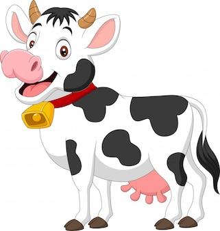 Vache heureuse de dessin animé isolé sur blanc