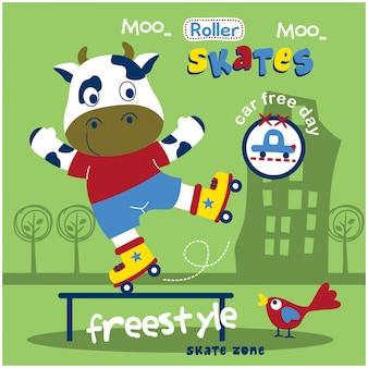 Vache jouer au patin à roulettes dans la ville