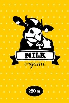Vache. lait et produits laitiers. emblème de vecteur.