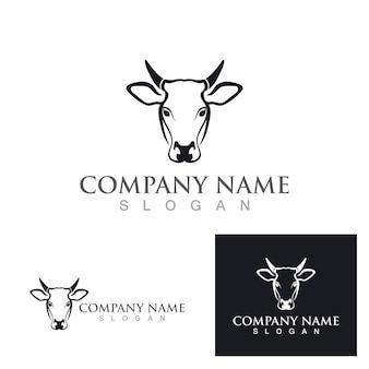 Vache logo template vecteur icône illustration design