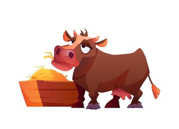 Vache mangeant du foin animal de ferme de dessin animé isolé isolé sur blanc illustration vectorielle de bétail rural