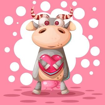 Vache mignonne avec ballon à air coeur