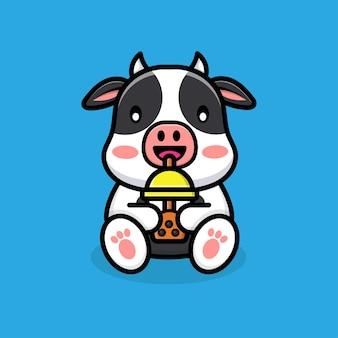 Vache mignonne buvant du thé de boba