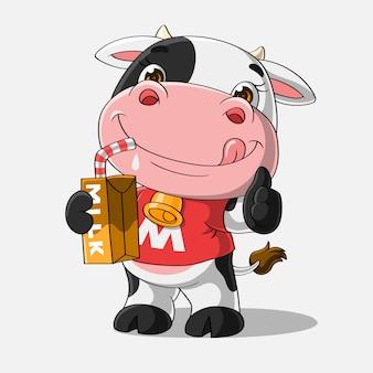 Vache mignonne buvant un lait, dessinés à la main