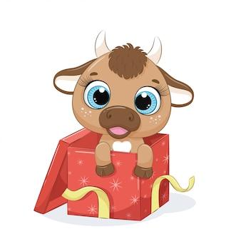 Vache mignonne dans une boîte cadeau.