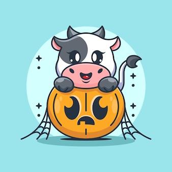 Vache mignonne avec dessin animé citrouille