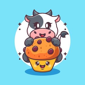 Vache mignonne avec dessin animé cupcake