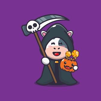 Vache mignonne faucheuse tenant une citrouille d'halloween illustration mignonne de dessin animé d'halloween