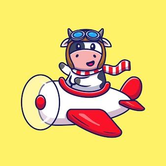 Vache mignonne fligt avec dessin animé d'avion. concept d'icône de transport d'animaux isolé. style de bande dessinée plat