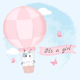 Vache mignonne sur illustration aquarelle ballon à air chaud