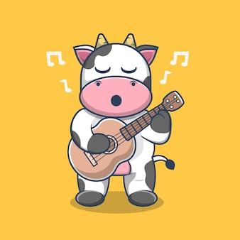 Vache mignonne jouant le vecteur de dessin animé de guitare. style de dessin animé plat vecteur premium
