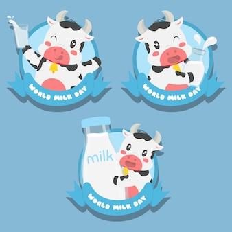 Vache mignonne journée mondiale du lait badges vector set