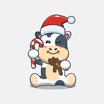 Vache mignonne mangeant des biscuits de noël illustration mignonne de dessin animé de noël