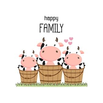 Vache mignonne père de famille mère et bébé.
