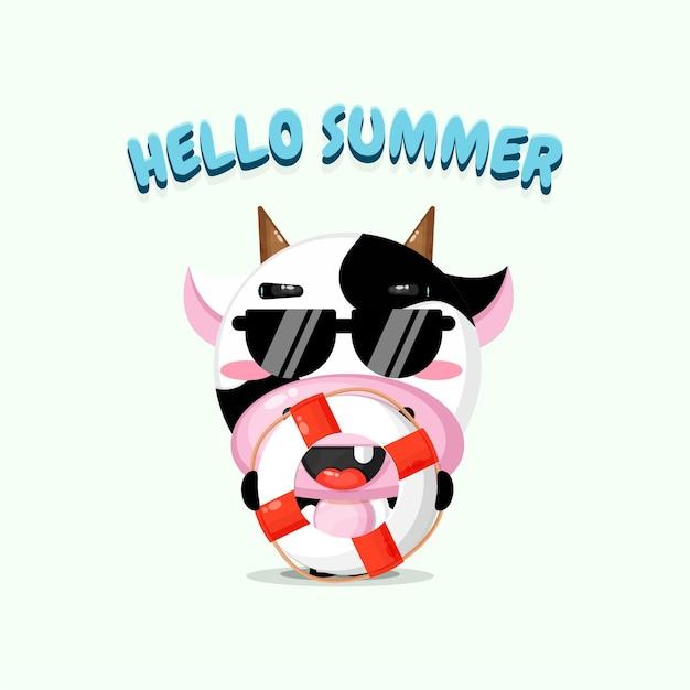 Vache mignonne portant un char avec des salutations d'été
