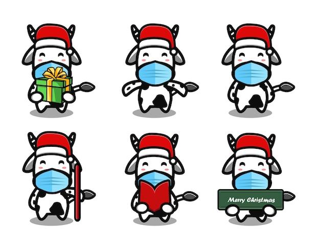 Vache mignonne portant un ensemble de dessins animés de chapeau de noël