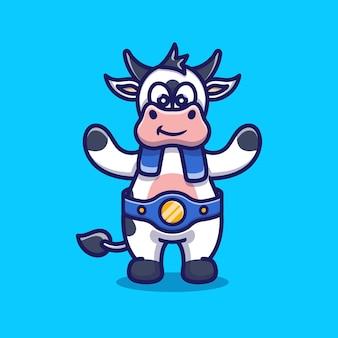Une vache mignonne remporte un match de boxe