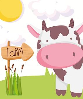 Vache mignonne signe en bois champ ciel ferme animaux