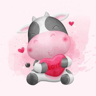 Vache mignonne tenant l'amour. illustration aquarelle.