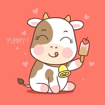 Vache mignonne tenant la crème glacée isolée sur fond rouge