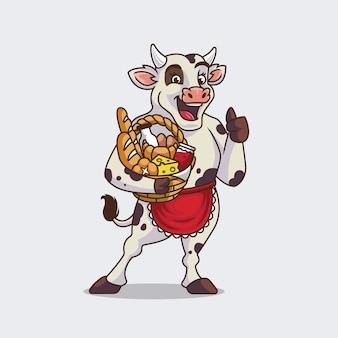 Vache mignonne tenant illustration de dessin animé de panier de gâteau