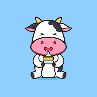 Vache mignonne tenant une illustration d'icône de dessin animé de sucette de bouteille de lait. concevoir un style cartoon plat isolé