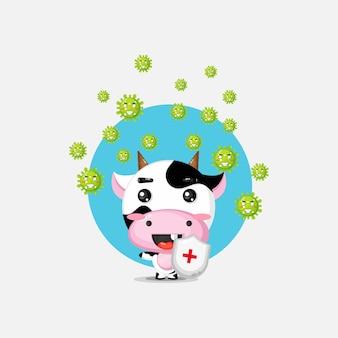 La vache mignonne a un virus
