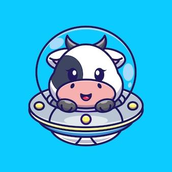 Vache mignonne volant avec dessin animé ovni de vaisseau spatial