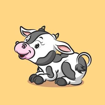 Vache avec motif blanc et noir fixant hbody