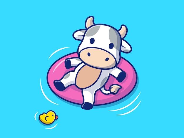 Vache nageant sur la plage