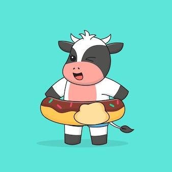Vache de natation avec anneau en caoutchouc donut