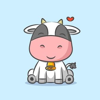 Vache portant une cloche sur son collier et assis sous le signe de l'amour