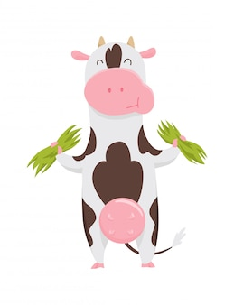 Vache tachetée mignonne mangeant de l'herbe, personnage de dessin animé drôle d'animaux de ferme