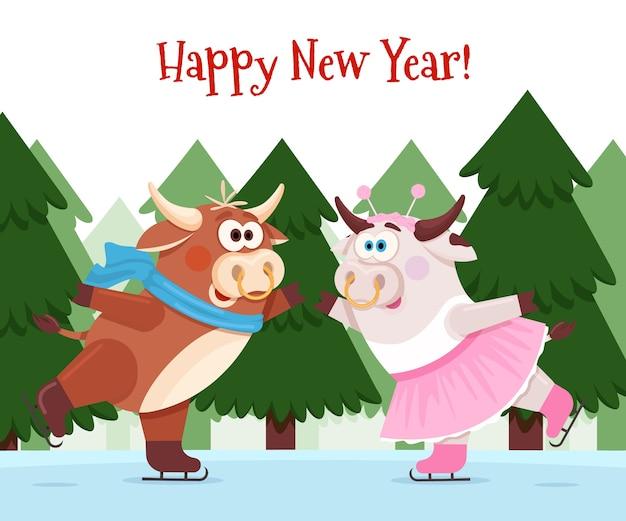 La vache et le taureau portent des patins