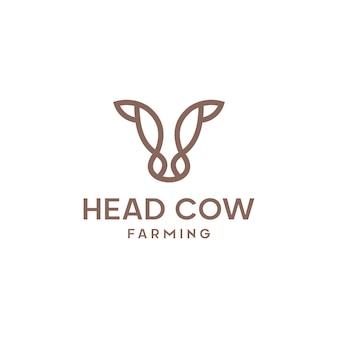 Vache tête ligne contour monoline icône graphique silhouette emblème logo étiquette
