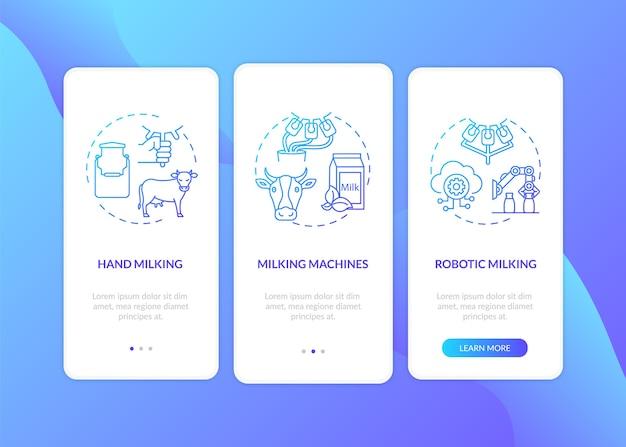 Vache traite dégradé bleu sur l'écran de la page de l'application mobile d'embarquement avec des concepts.