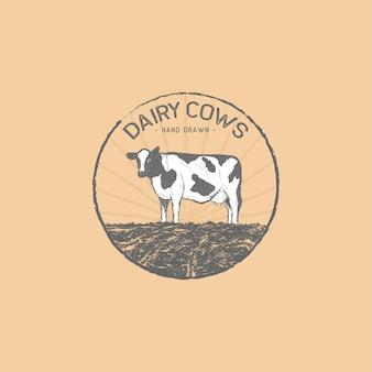 Vaches laitières dessinées à la main