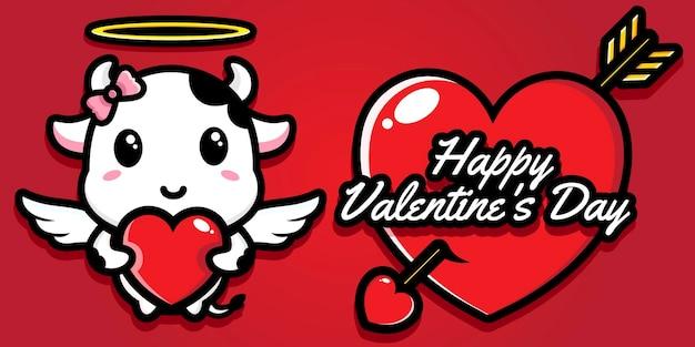 Vaches mignonnes avec les salutations de la saint valentin