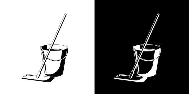 Vadrouille et seau avec illustration vectorielle de l'eau. équipement de service de nettoyage de sol humide isolé jeu d'icônes noir plat