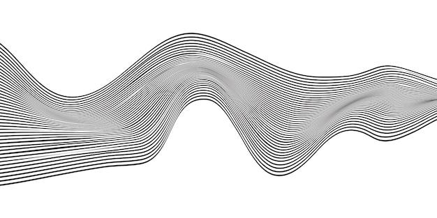 Vague abstraite ligne noire fond blanc.