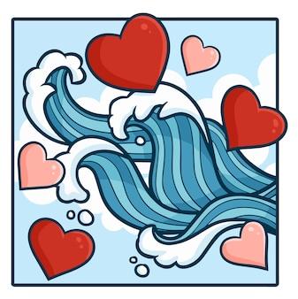 Vague d'amour drôle et mignonne dans un style simple doodle