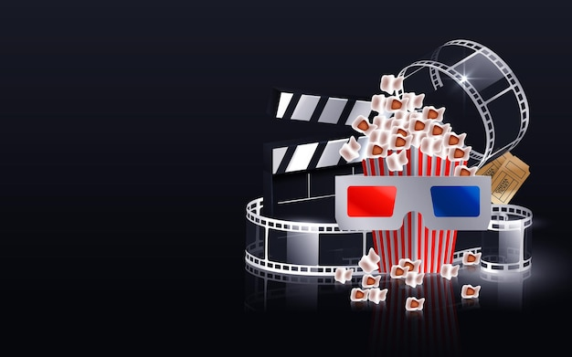 Vague de bande de film de cinéma, bobine de film, lunettes 3d et clap isolé sur fond noir