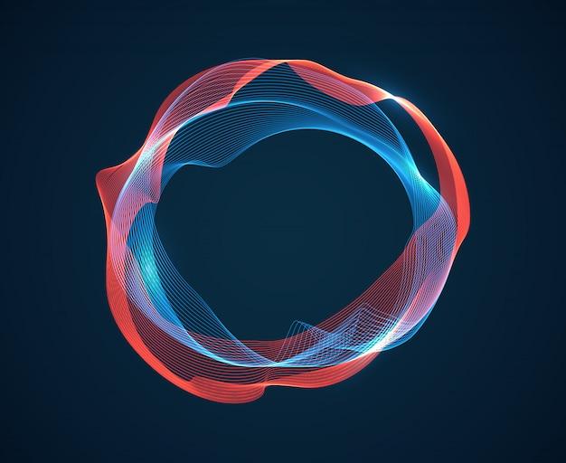 Vague de cercle de musique. des ondulations de battements sonores émettent un flux d'ondes. lignes de néon du spectre musical. abstrait de studio audio numérique